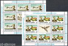 Joegoslavië 1991 vellen 2473-2474 vliegtuigen planes Lilienthal cat waarde € 30