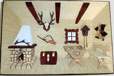 3D Holzbild Wandbild 30 x 21 cm Jägerstube, Handarbeit