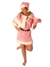 PINK MISS SANTA LADIES VELOUR XMAS FANCY DRESS SIZE 10