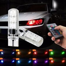 2Pcs T10 RG Color Changing LED Car Lamp Side Bulb Strobe Wireless Remote Control