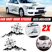 2x Car Side Body Hood Sticker Decal Large Compass W/ Mountains Navigation Decal