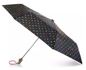 "Totes Large Spotted Auto Open/Close Umbrella 55"" Coverage W/ Sunguard & NeverWet"