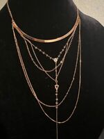 EXPRESS Rose gold tone multi strand layered necklace NEW