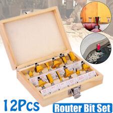 """12Pcs Professional 1/4"""" Shank Tungsten Carbide Router Bit Cutter Set UK STOCK"""