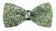 Crystal Lime Green / Silver Diamonds Glitters Rhinstone TUXEDO BOW TIE Wedding
