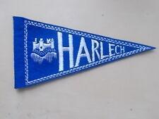 HARLECH - WALES - SMALL EMBROIDERED SOUVENIR PENNANT FLAG - CARAVAN CAR