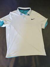 Nike Golf Size XL Modern Fit Tour Performance Dri-Fi White Teal Stich Polo Men