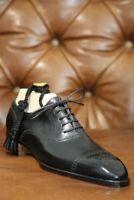 Chaussures à lacets en cuir véritable noir pour hommes faits à la main