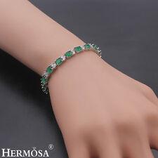 "Hermosa 925 Sterling Silver Green Emerald White Topaz Delicate Women Bracelet 8"""