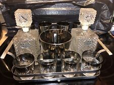 Dorothy Thorpe Barware Set Ice Bucket Glasses Scotch and Rye Glass Decanter Set