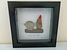Ham and Eggs River Rock Shadowbox Picture - Pig & Chicken Buddies - Handcrafted