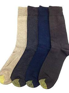 $45 Gold Toe Mens 4 Pairs Pack Dress Casual Crew Socks Blue Brown Shoe 6-12