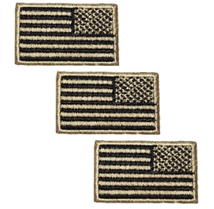 """American Flag Patch - Reverse United States of America USA 1.5""""(3-Pack, Iron on)"""