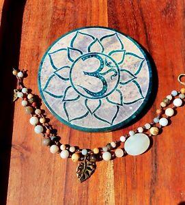 'Sandy Beach' Castaway Bracelet by GypsyLee Hemp Raw Crystal Bohemian Amazonite