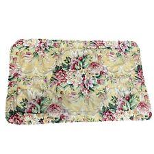 Croscill Pavillion Yellow Pink Green Floral King Pillow Sham Corded Edges Scroll
