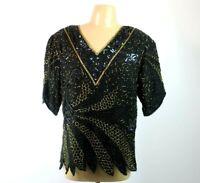 VTG 80s Iridescent L Blouse Sheer Beaded Evening Formal Silk SEQUIN Trophy Wife