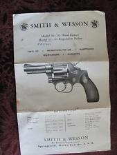 1955 Smith & Wesson Regulation Police Pistol Gun Instructions Specs Parts List++