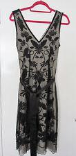PHASE EIGHT LADIES DRESS - CREAM WITH BLACK LACE OVERLAY- SIZE 10 - SLEEVELESS