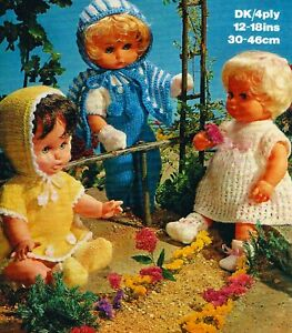 """Knitting Pattern DK & 4 ply Baby Dolls Clothes 12-14-16-18"""" 3 Outfits"""