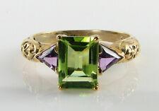 Trillion Cut Amethyst Art Deco Ins Ring Divine 9K Gold Peridot 8mm x 6mm &