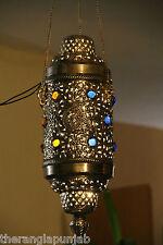 Hängelampe Orientalische Lampe 1001 Nacht Mystik Metall 78 cm x 24 cm Handarbeit