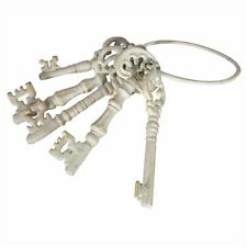 Key Cream Metal Vintage Keys Ring French Country Shabby Chic Antique White
