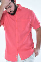 Mens Bohio Coral Linen Casual Short Sleeve (1) Pocket Shirt (S~ 2XL) - MLS3104