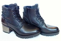 NEW BULLBOXER Cassie black leather lace up COMBAT hiker BOOTS Eu 40/US 10 fits 9