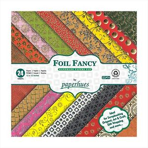 """Paperhues Foil Fancy Collection Scrapbook Papers 12x12"""" Pad, 24 Sheets."""