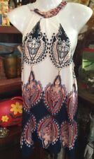 Boho Tribal Funky Halter Style Paisley Cotton Mini Sun Dress S