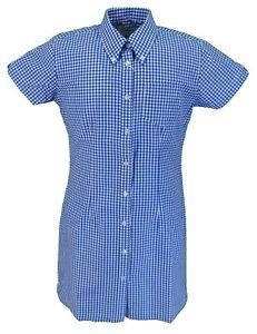 Relco Ladies Blue Gingham Retro Shirt Dress