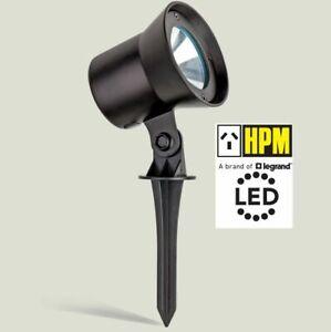 2 X HPM 12V LED Garden Light Spotlight 1W Black Tilt Adjustable with Spike