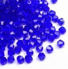 50x Kristallperlen Bicone Doppelkegel Preciosa Perlen 3mm BLAU