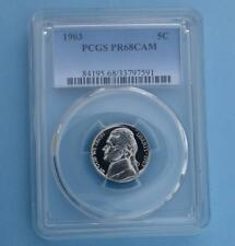 New listing 1963 Pcgs Pr68 Cam Jefferson Nickel, Frosty Gem Proof 68 Cameo Coin