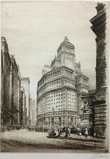 NEW YORK Etching ~ THE MOUTH OF BROADWAY ~ 1928 Vibrant Street SKYSCRAPERS