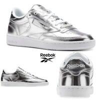 Reebok Classic Club C 85 S Shine Shoes Sneakers Silver CM8686 SZ 4-12.5