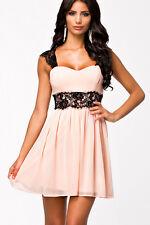 Light Pastel Pink Chiffon Dress Black Lace Sundress 21592