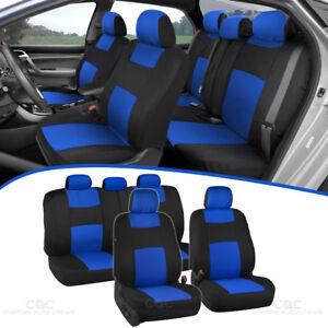Car Seat Covers for Auto Blue Black 5 Head Rest Split Bench