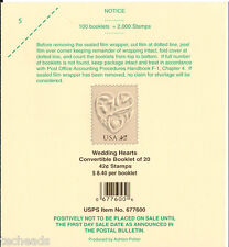 DECK LABEL Wedding Hearts - 100 Booklets=2,000 STAMPS  LABEL,ITEM #677600 - USED
