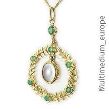 Jugendstil Silber Anhänger Chrysopras Blätter Perlmutt pendant mother of pearl