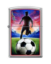 Zippo 8281, Mazzi-Soccer/Football, Brushed Chrome Finish Lighter