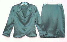NWOT Nicole Miller Designer Collection Gunmetal Grey Satin Jacket Skirt Suit 4