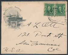 #300 PAIR ON HAMBURG AMERICA LINE HAMBURG COVER SHANGHAI, CHINA TO USA BR3135