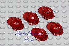 LEGO Minifig Lot/5 RED FIREFIGHTER HELMET -Minifigure Fire Man Hat Head Gear Set