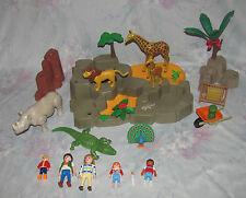 Playmobil Zoo Jungle Figure Set - Giraffe, Rhino, Alligator, Peacock, People +