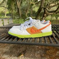 Rare 2008 Mens Nike Dunk Low White Orange Blaze Womens US Size 11 Mens US 9