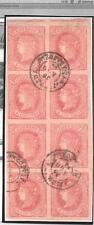 España. Bloque de 8 del sello de 4 ctos con matasello de fecha. Edifil nº 64