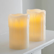 Pair Of Church Pillar Battery Operated Flickering LED Wax Candles With Timer