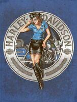 HARLEY DAVIDSON POLICE BIKER BABE HEAVY DUTY USA MADE METAL ADVERTISING SIGN