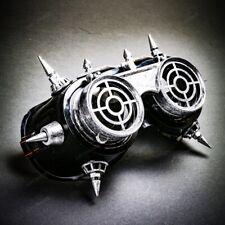 Halloween Steampunk Rivet Vintage Goggles Burning Man Gas Cosplay Black Silver